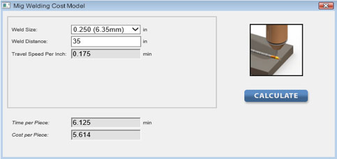Welding calculator making the estimating process fast and accurate